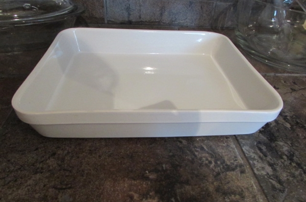 GLASS BAKING DISHES, CASSEROLES, PITCHER & SERVING BOWL