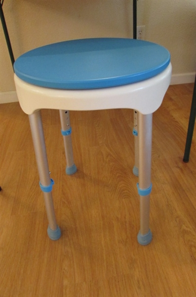 CARD TABLE & ADJUSTABLE HEIGHT SWIVEL SEAT STOOL