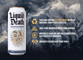 LIQUID DEATH MOUNTAIN WATER MURDER YOUR THIRST 16.9 OZ CANS