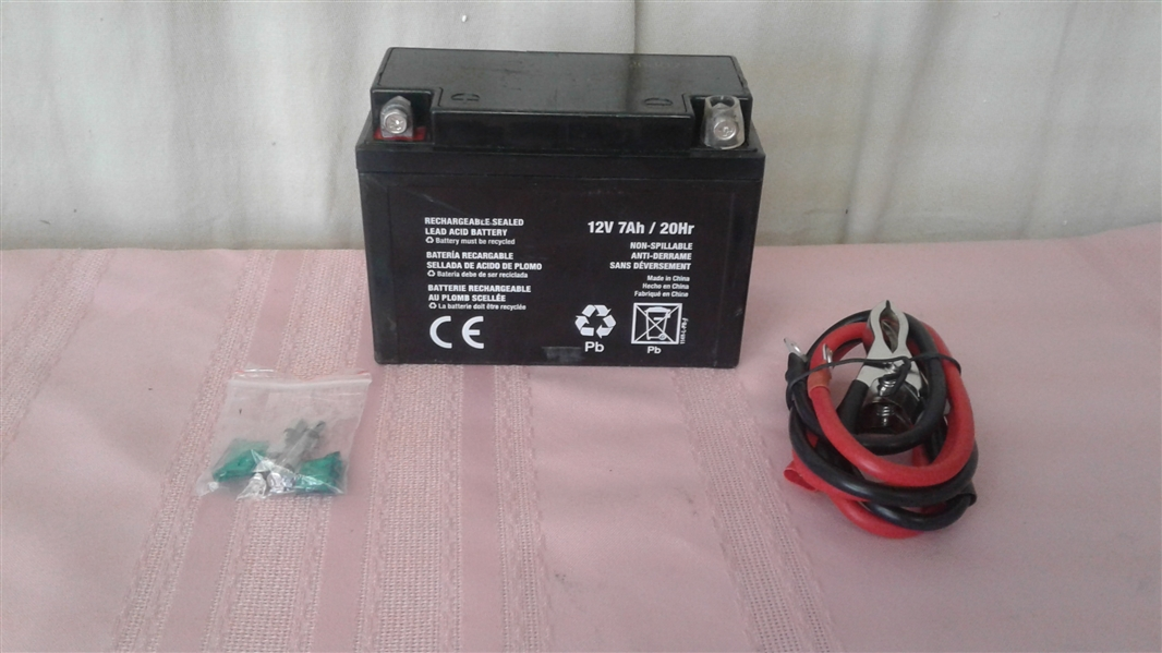 12 VOLT BATTERY WITH CABLES AND FUSES