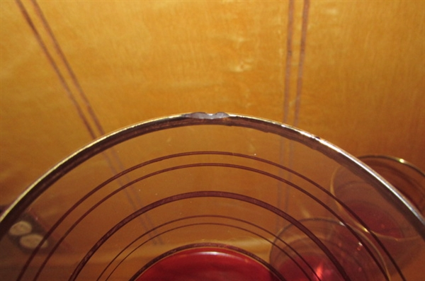 VINTAGE INDIANA GLASS RUBY RED & GOLD BOWL & FOOTED GLASSES