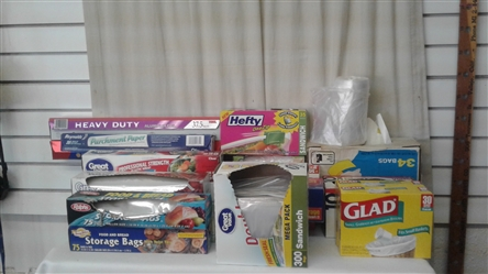 LOT OF TRASH BAGS, STORAGE BAGS, PLASTIC WRAP, ALUMINUM FOIL, AND WAX PAPER