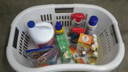 LAUNDRY BASKET WITH SUPPLIES
