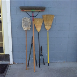 BROOMS AND HEDGE CLIPPERS