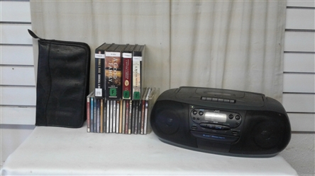 JVC CD PLAYER/CASSETTE/RADIO, CDS, AND AUDIOBOOKS