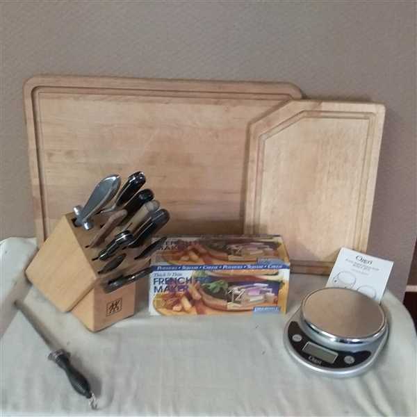 CUTTING BOARDS, KNIFE BLOCK, KITCHEN SCALE & FRENCH FRY MAKER