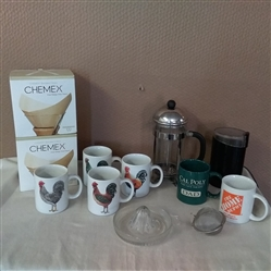 FRENCH COFFEE PRESS, COFFEE GRINDER, CHEMEX FILTERS, JUICER AND CUPS