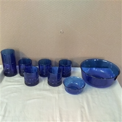 BLUE GLASS BOWLS AND GLASSES