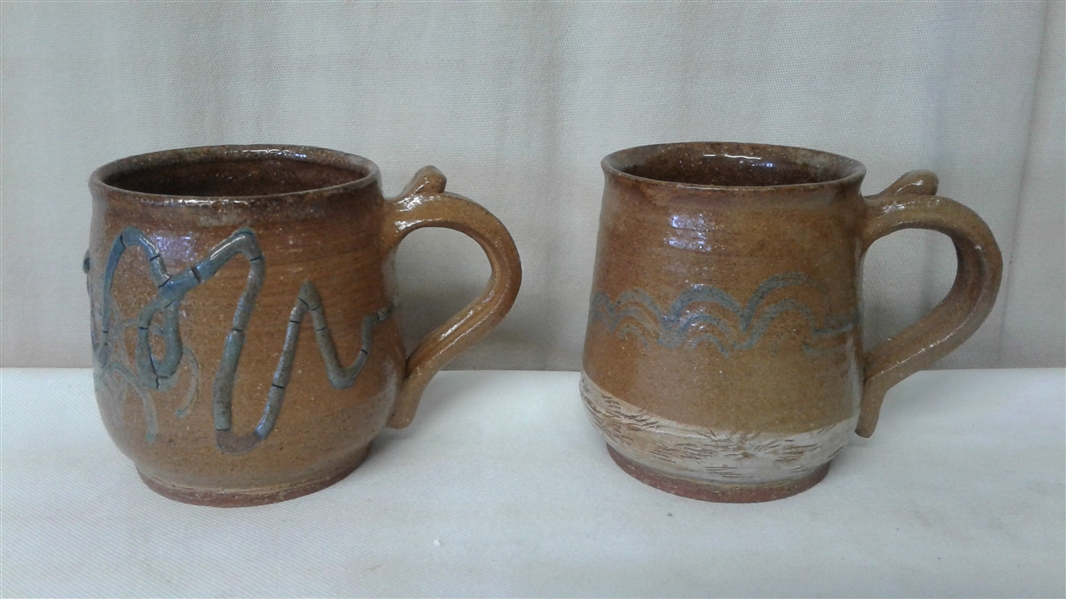 VINTAGE SET OF 6 HAND THROWN POTTERY HANDLED MUGS