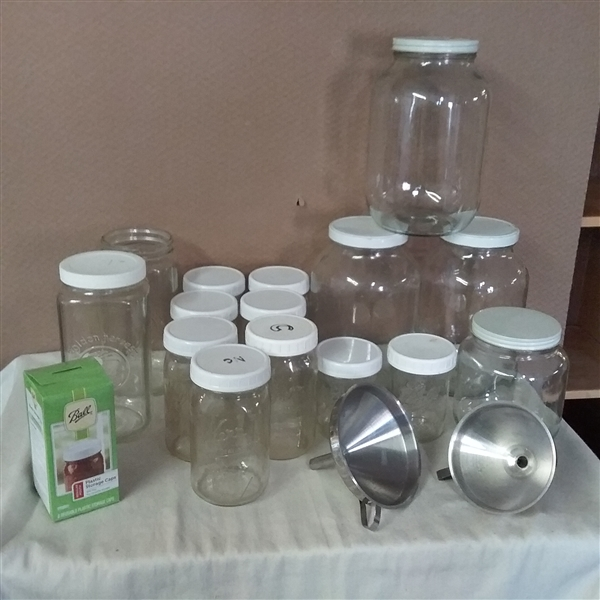 LARGE JARS, CANNING JARS, LIDS AND FUNNELS