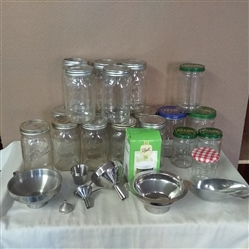 CANNING JARS, FUNNELS, SCOOP AND LIDS