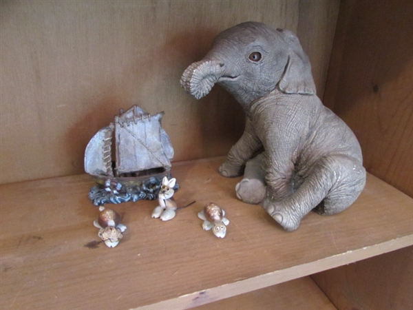 ELEPHANT, BOAT, AND SEA SHELL CREATURES