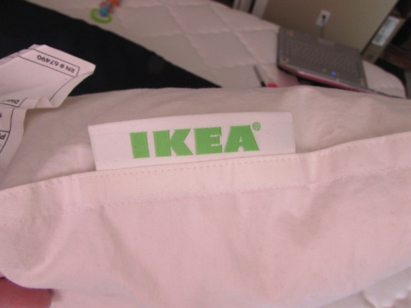 2 IKEA FEATHER PILLOWS AND BODY PILLOW