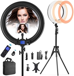 "19"" RING LIGHT WITH REMOTE AND IPAD HOLDER"