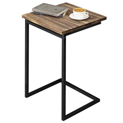 "MYGIFT 21"" SIDE TABLE WITH WOOD TOP"