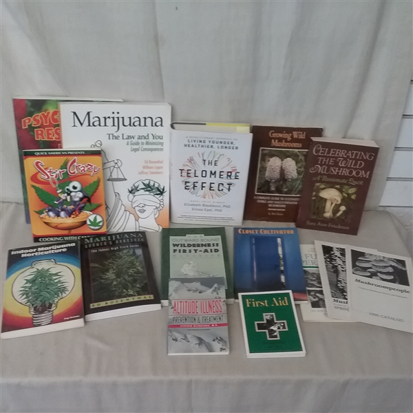 FIRST AID, CANNABIS, AND FUNGI/MUSHROOM BOOKS