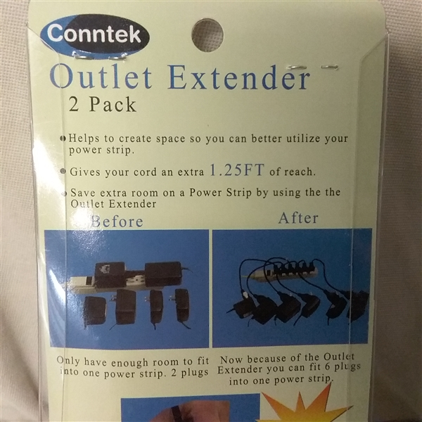 3 CT CONNTEK OUTLET EXTENDER SNAP-POP 2 PACK