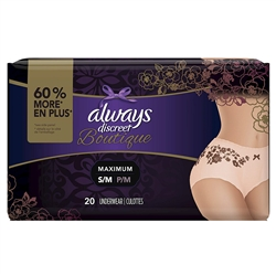 Always Discreet Boutique Incontinence & Postpartum Underwear for Women, Peach, Small/Medium, 20 Count, Maximum Protection, Disposable