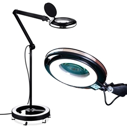Brightech LightView Pro LED Magnifying Glass Floor Lamp with Rolling Base- White