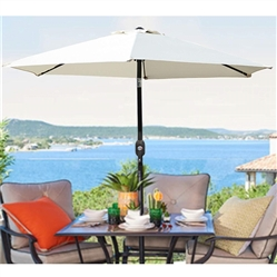 UHINOOS 9 ft Patio Umbrella with Tilt button and Crank-Ivory