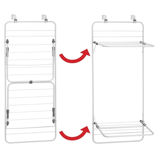 mDesign Long Metal Lightweight Over Door Laundry Drying Rack