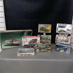 Lot of 9 Vintage Model Sets- Shrimp Boat, Pea Shooter, and Military Vehicles
