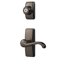 IDEAL Security Deluxe Storm and Screen Door Lever Handle and Keyed Deadlock in Oil-Rubbed Bronze