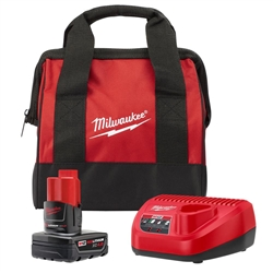 Milwaukee M12 12-Volt Lithium-Ion 4.0 Ah Battery and Charger Starter Kit with Tool Bag