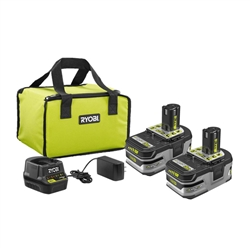 RYOBI 18-Volt ONE+ LITHIUM+ HP 3.0 Ah Battery (2-Pack) Starter Kit with Charger and Bag