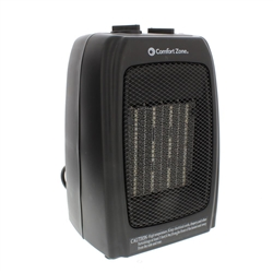Comfort Zone 750/1,500-Watt Ceramic Electric Portable Heater with Thermostat and Fan in Black