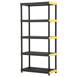 HDX 18 in. x 36 in. x 74 in. Black and Yellow Plastic Ventilated 5-Tier Garage Shelving Unit