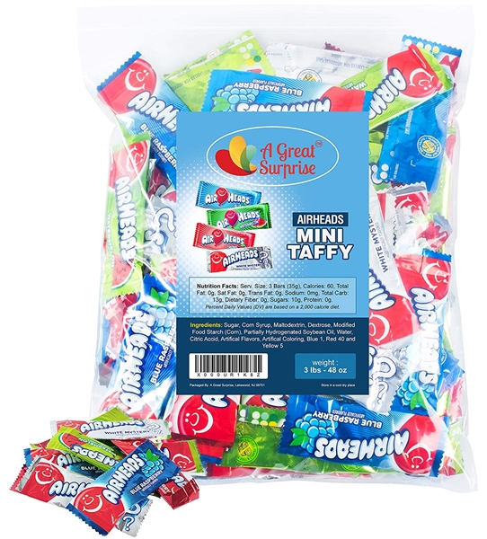 Airheads Candy Mini Bars, 3 lbs Individually Wrapped Assorted Flavors, Non Melting