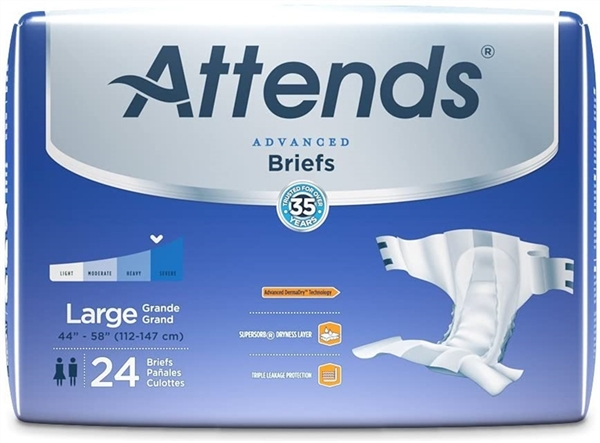Attends Advanced Briefs with Advanced Dry-Lock Technology for Adult Incontinence Care, Large, Unisex, 24 Count