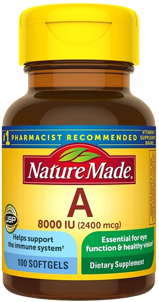 Nature Made Vitamin A 2400 mcg (8000 IU) Softgels 100 Count for Eye Health