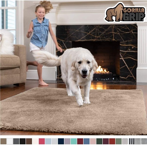 Gorilla Grip Original Faux-Chinchilla Area Rug, 6x9 Feet - Taupe
