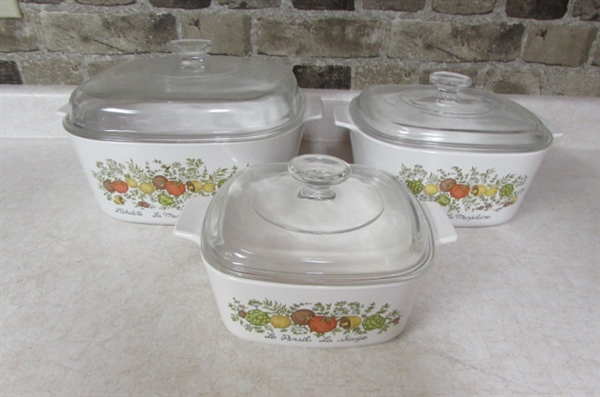 CORNING WARE -SPICE OF LIFE - CASSEROLE DISHES WITH LIDS