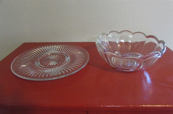 PRESSED GLASS SERVING BOWLS & PLATES