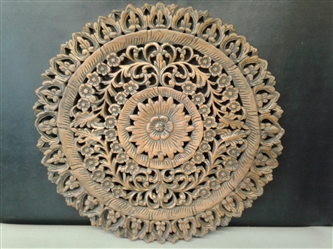 Floral Carved Wood Wall Hanging 33""