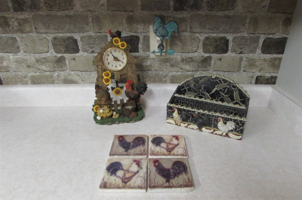 ROOSTER DECOR - MAIL SORTER, CLOCK & AIR FRESHENER