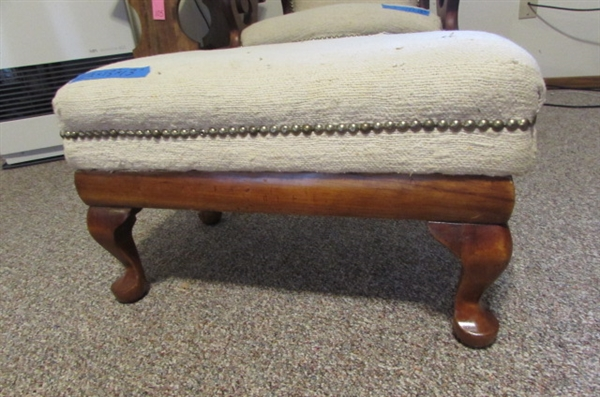 ANTIQUE UPHOLSTERED FOOTSTOOL