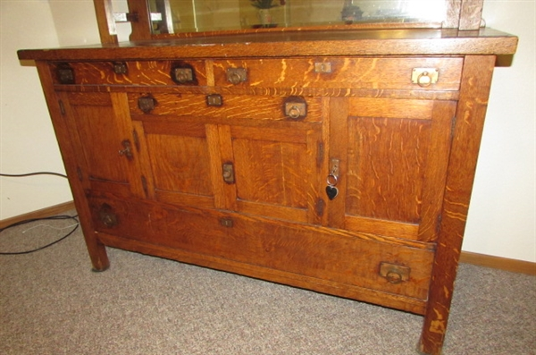 ANTIQUE MISSION STYLE SIDEBOARD