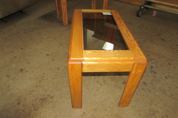 SMALL OAK SIDE TABLE WITH SMOKED GLASS INSERT #1