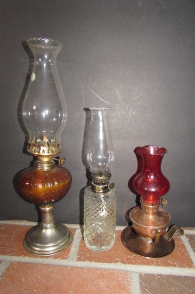 3 SMALL HURRICANE OIL LAMPS