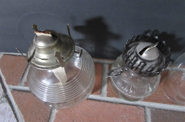 2 VINTAGE GLASS HURRICANE OIL LAMPS