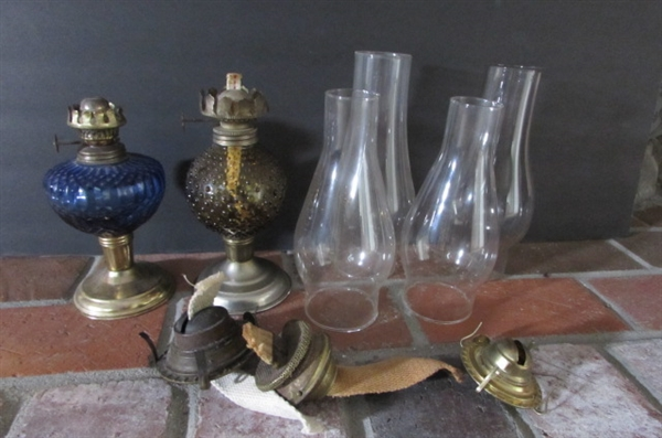 OIL LAMP BASES, CHIMNEYS & PARTS
