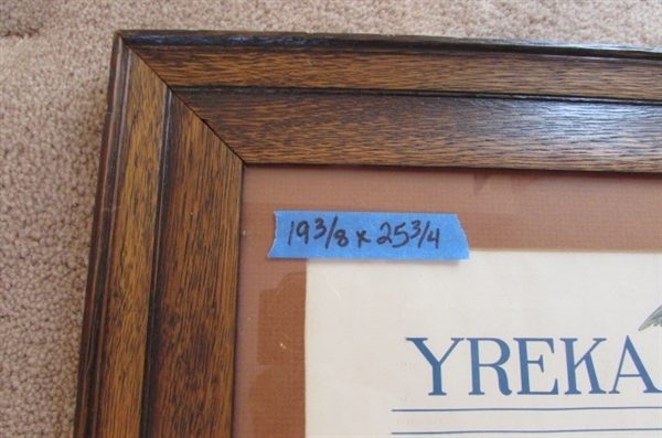 1908 Yreka Journal LITHOGRAPH IN ANTIQUE FRAME