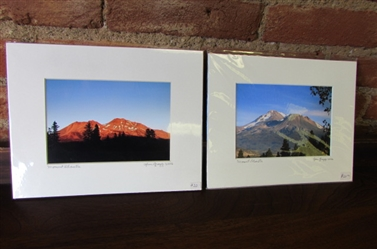 2 SMALL PHOTOS OF MT. SHASTA by JIM GREGG
