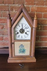ANTIQUE E.N. WELCH 8-DAY STEEPLE CLOCK (55)