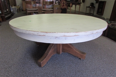 ANTIQUE OAK COFFEE TABLE WITH DISTRESSED TOP (116)