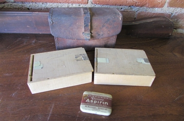 ANTIQUE LEATHER CASE, 2 WOODEN BOXES AND VINTAGE ASPIRIN TIN